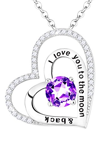 Mothers Day Natural Amethyst Love Heart Necklace Jewelry February Birthstone Pendant Birthday Anniversary Gift for Her Lady Wife Mom Girlfriend Sterling Silver Heart Pendant, 18