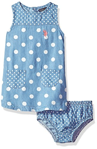 U.S. Polo Assn. Baby Girls Casual Dress, Polka dot Tank Shift Medium wash, 18M (Assn Girl Us Polo Baby)