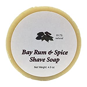 Bay Rum Shave Soap by MoonDance Soaps - Handmade Soap with Bentonite Clay and Shea Butter (One Round)