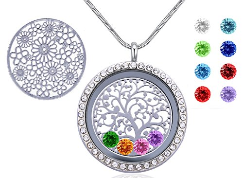 Birthday Stone Necklace - 30mm Round Magnetic Closure Floating Living Memory Lockets Pendant Necklace with Birthstones, Best Gift