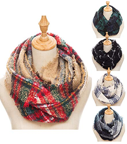 Women Tartan Plaid Infinity Wrap Scarf Winter Chunky Crochet Knit Loop Scarf