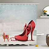 High Heel Lady Shoes Shower Curtain-Polyester Waterproof Shower Curtain 12 Hooks Included,Bathroom Accessories,66 by 72 Inch
