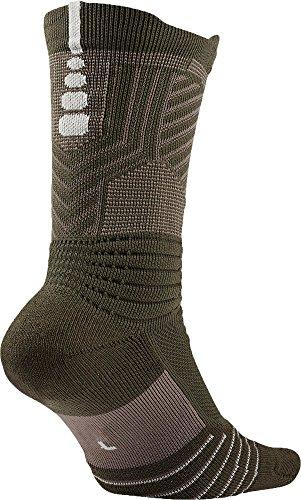 Nike Men's Elite Versatility Crew Basketball Socks (Large, Cargo Khaki/Dark Mushroom/Pale Grey)