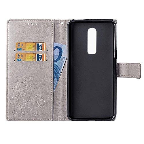 LEMORRY OnePlus 6 Hülle Tasche Ledertasche Beutel Slim Magnetisch SchutzHülle mit Kartenschlitz Weich Silikon Cover Schale Handyhülle für OnePlus 6, Glücklicher Klee (Schwarz) Grau