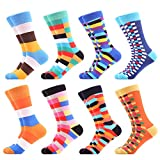 WeciBor Men's Colorful Grid Style Casual Dress Combed Cotton Crew Socks 8 Packs