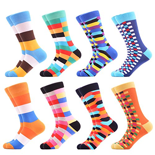 WeciBor Men's Colorful Grid Style Casual Dress Combed Cotton Crew Socks 8 Packs by WeciBor