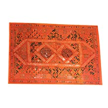 Mogul Vintage Indian Tapestry Orange Embroidered Mirror Patchwork Wall Hanging India Home Décor 60x40