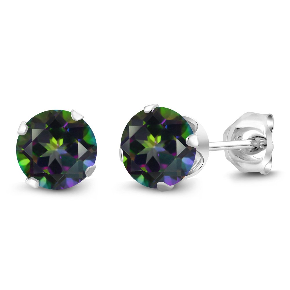 Mystic Topaz Earrings 925 Sterling Silver 6mm Green 2.00 Ct Round