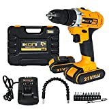 Cordless Electric Drill/ScrewDriver 21V Max 2 Speed 3/8Inch Keyless Chuck 15+1 Clutch Positions with 2 Rechargeable Lithium Ion Batteries, Front LED Light,11Pcs Drill Bits Set and Flexible Shaft