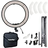 Camlite18'' Bi-Color Led Ring Light 55W with Heavy Duty Light Stand 5600K-3200K Dimmable & Color Temperature Adjustable Photography Lighting Kit with Mirror, Filter for Make up, iPhone Video,Youtube