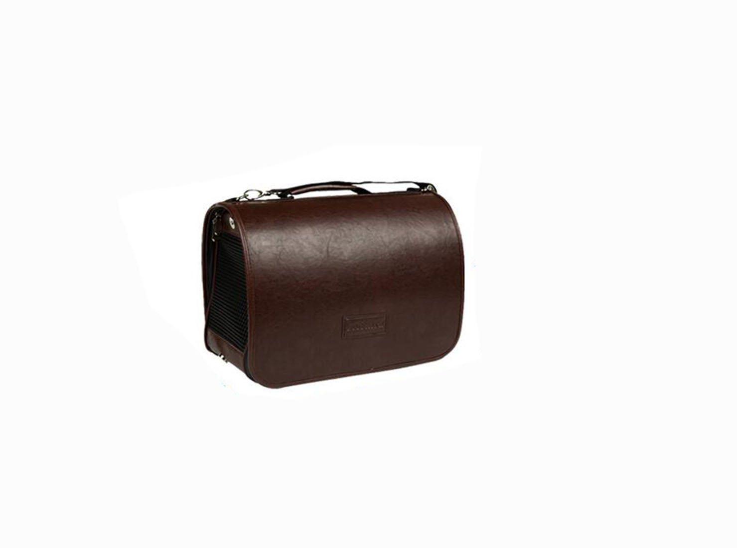 Alkem Luxury Faux Leather Pet Dog Cat Travel Carrier Tote Bag Portable Handbag Shoulder Bag (Small)