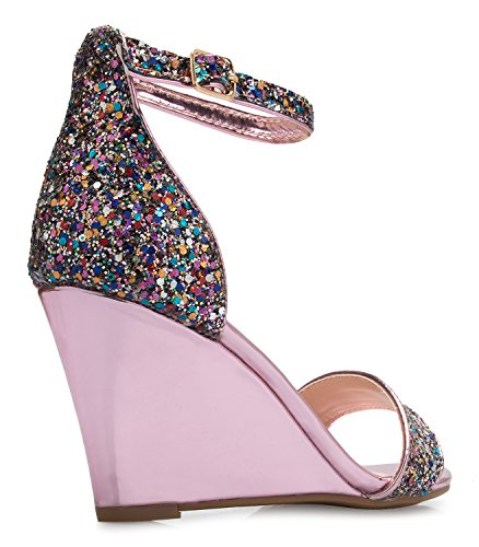 3fce5ebb13e0ee OLIVIA K Womens Ankle Strap Wedge Heel Sandals - Adorable Glitter Open Toe  - Casual