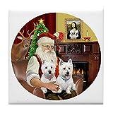 CafePress - Santa (R) - Two Westies - Tile Coaster, Drink Coaster, Small Trivet
