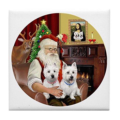 (CafePress - Santa (R) - Two Westies - Tile Coaster, Drink Coaster, Small Trivet)