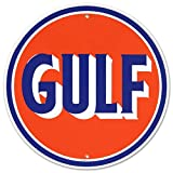 Gulf Oil Gasoline Logo Round Tin Sign 12 x 12in