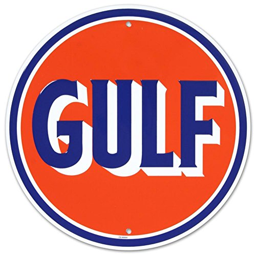 - Gulf Oil Gasoline Logo Round Tin Sign 12 x 12in