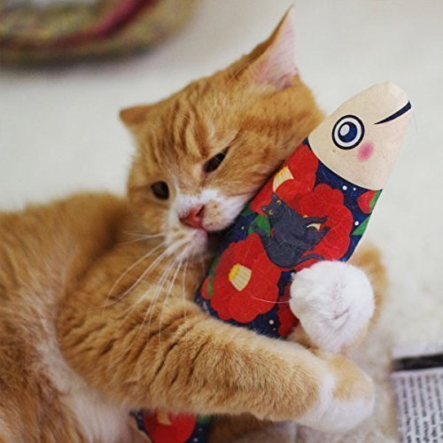Camellia Fish Cat Toys, Handmade Cat Toys, Cat Kicker Toys, Kitty Toys, Silvervine, Japanese Catnip Kicker Pillow, Japanese Catnip Kick Stick, Unique Cat Toy, Cat Gifts, Matatabi, Gifts for Cat Lovers