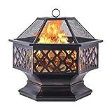 Artist Hand Hex Shaped Outdoor Firepit Garden Backyard Fireplace Fire Pit w/Lid Top