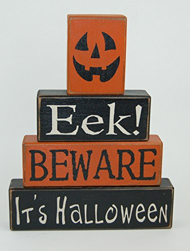(NEW! Jack-o-lantern Face EEK! Beware It's Halloween -Primitive Wood Sign Shelf Sitting Blocks - Holiday, Seasonal, Halloween, Fall, Home)