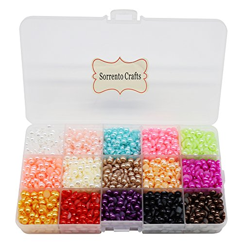 Color Mixed Beads (3300pcs 6mm Mixed 15 Colors Half Pearl Bead Flat Back Gem Plastic Box 1box)