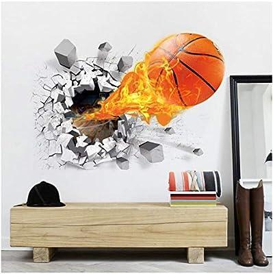 Basketball Fire Wallpaper 3d Background Wallpaper Living Room