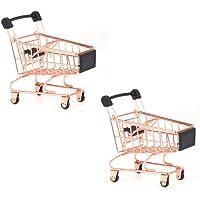 Beauy Girl 2 Pcs Mini Metal Shopping Cart, Mini Shopping Grocery Cart Supermarket Handcart Trolley Handcart Toy Shopping…