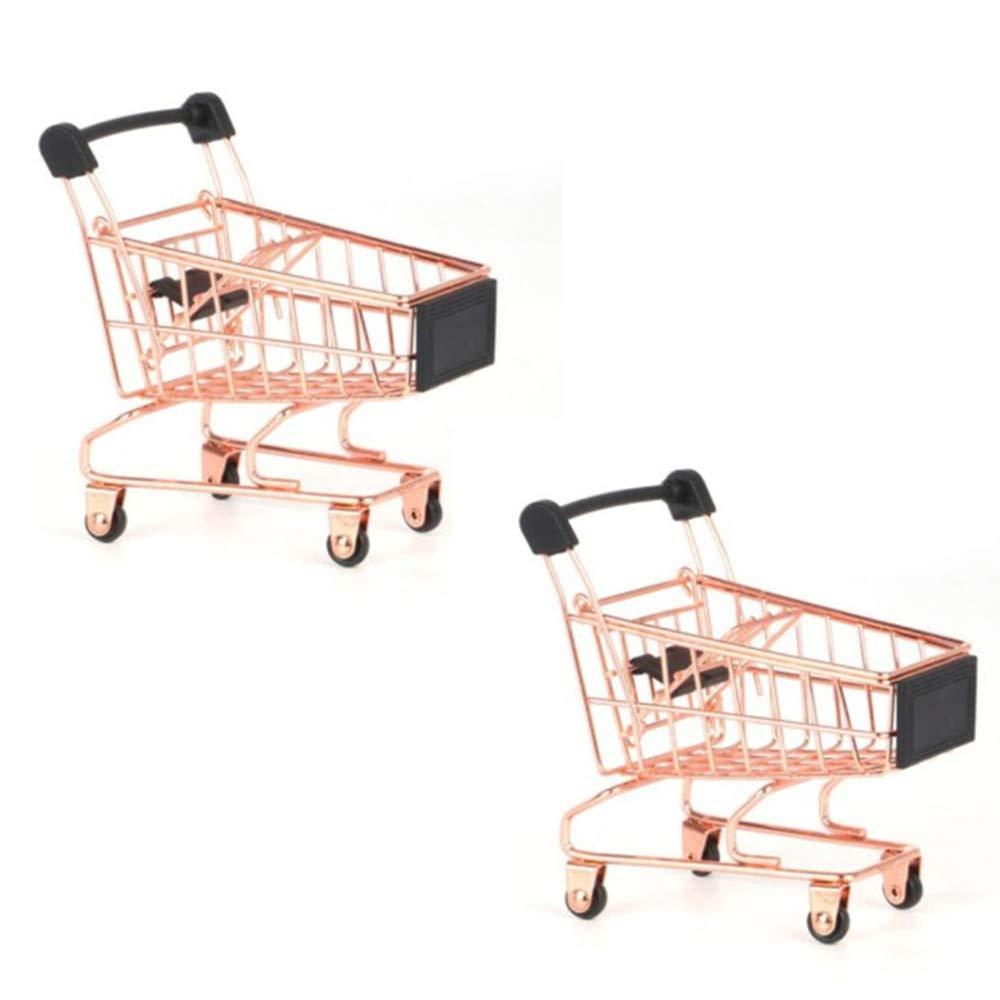 Beauy Girl 2 Pcs Mini Metal Shopping Cart, Mini Shopping Grocery Cart Supermarket Handcart Trolley Handcart Toy Shopping Carts