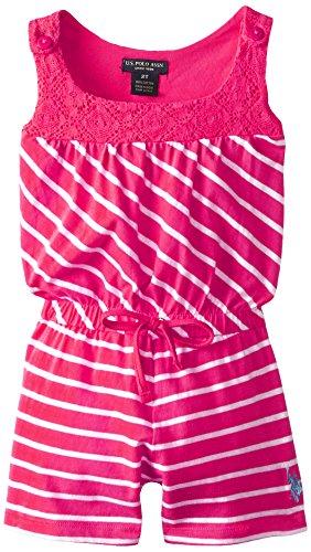 U.S. POLO ASSN. Little Girls' Striped Romper, Pink Paradise, 6X
