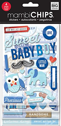 Me & My Big Ideas mambiChips Chipboard Stickers - The Happy Planner Scrapbooking Supplies - Baby Boy Theme - Blue & Multi-Color - Great for Projects, Scrapbooks & Albums - 4 Sheets, 63 Stickers Total