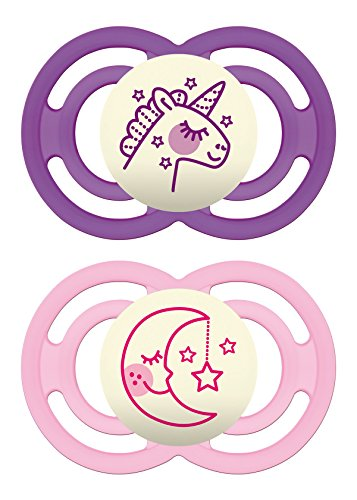 MAM Perfect Night 2 Piece Baby Pacifier, Girl, 6+ Months