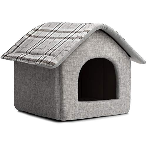 Hollypet Cozy Pet Bed House Warm Cave Sleeping Bed Puppy Nest for Cats and Small Dogs, Light Gray