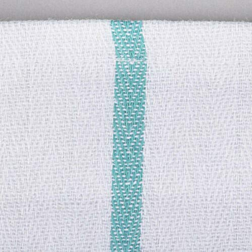 Soft 240 Pack Absorbent White Cotton Green Striped 15 x 25'' Dish Towels Kitchen Cotton