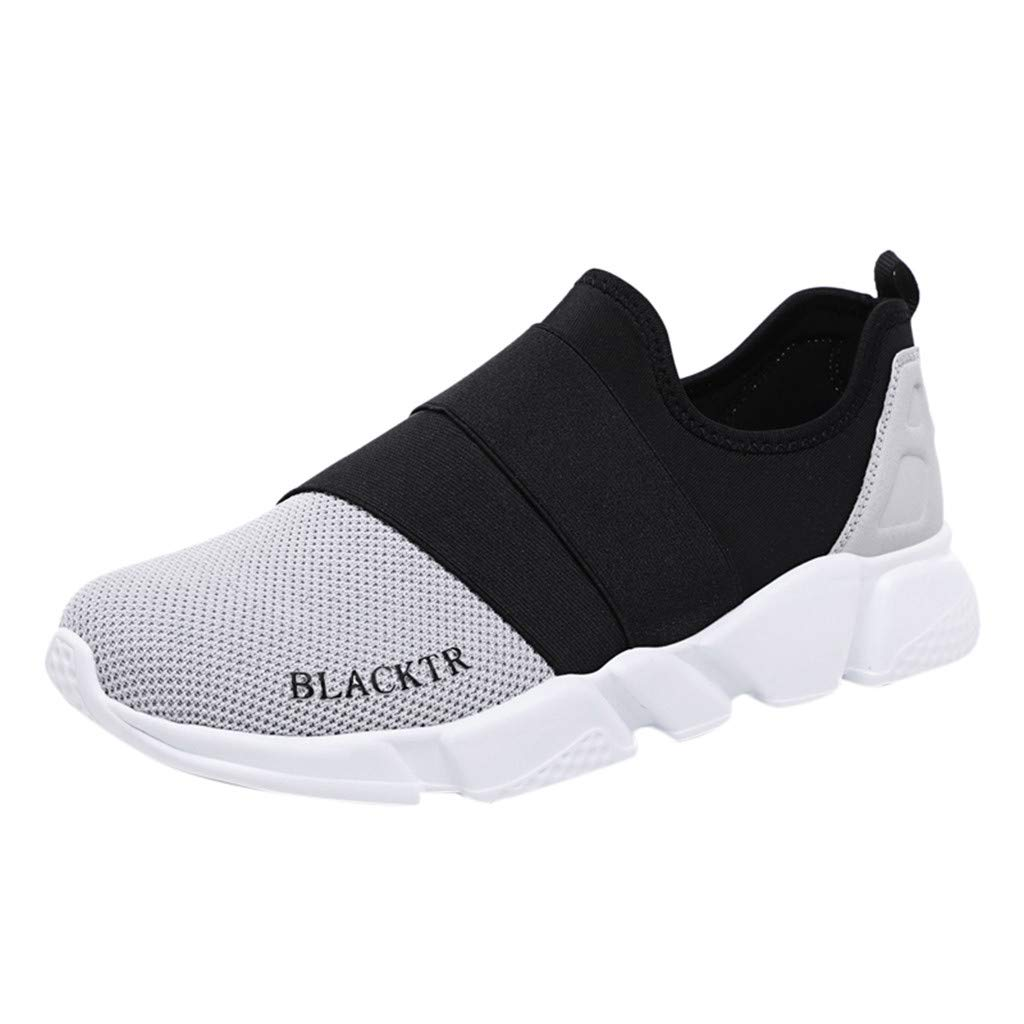 Caopixx Men's Running Shoes Fashion Casual Slip On Breathable Sneakers Athletic Walking Shoes Gray