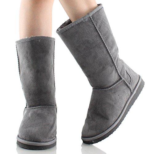 Soda Frauen Soong Comfort Faux Wildleder Fell Mitte-Kalb Flachen Stiefel, Nat, 8 M US Holzkohle-NEU