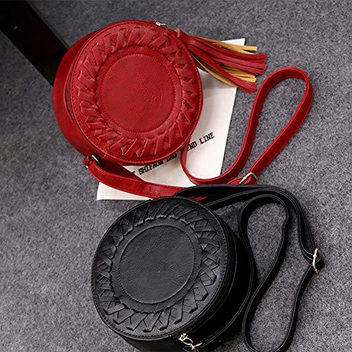 Gloglow Nero Tonda A Intrecciata Borsa In rosso Tracolla Vintage Donna Forma Pelle q1rpCqn