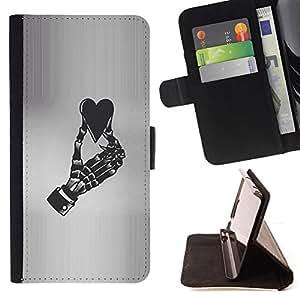 BullDog Case - FOR/LG G2 D800 / - / HEART GREY BLACK WHITE SKELETON /- Monedero de cuero de la PU Llevar cubierta de la caja con el ID Credit Card Slots Flip funda de cuer