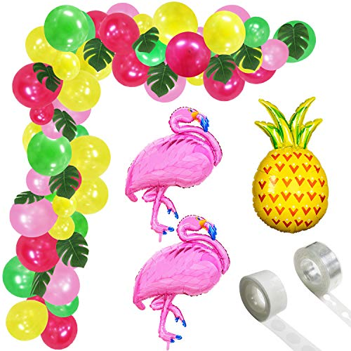 Tropical Hawaii Party Decorations Balloons - 99 Pack Tropical Balloons Garland Arch Kit - Latex Balloons with Palm Leaves and Balloon Strip Set for Tropical Theme Baby Shower Birthday Bachelorette Bridal Shower Wedding Party Decorations Supplies]()
