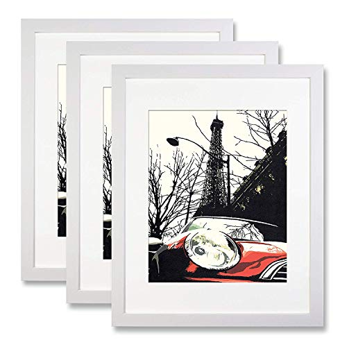- Ohbingo 11x14 inch Picture Frame White 3 Pack - Display Pictures 8x10 with Mat or 11x14 Without Mat for Wall Mounting Photo Poster Frame White - Chritmas Gift