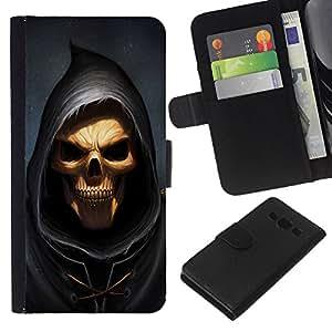 JackGot ( Cráneo Parca ) Samsung Galaxy A3 la tarjeta de Crédito Slots PU Funda de cuero Monedero caso cubierta de piel