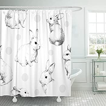 TOMPOP Shower Curtain Gray Drawing Rabbits Collage Cute Fuzzy Pattern Pencil Sketch Waterproof Polyester Fabric 72