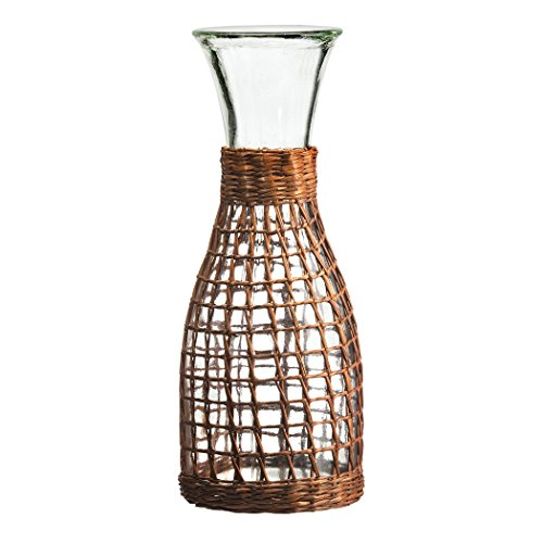 Amici Home, A7VA238R, Bali Collection Glass Carafe, Recycled Glass, All Natural Handwoven Rattan Wrapping, 34 Ounces (Recycled Glass Carafe)