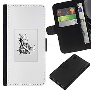 KLONGSHOP // Tirón de la caja Cartera de cuero con ranuras para tarjetas - Goldfish tribal - Sony Xperia Z1 L39 //