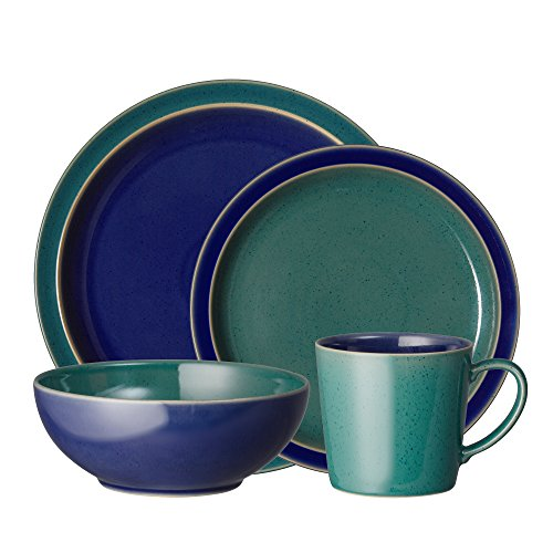 Denby HRL-16PCGB Harlequin Dinnerware Set, Green/Blue