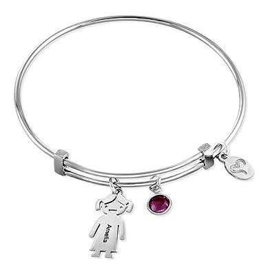 7fa3d1f755c5 MyNameNecklace Custom Kids Charm and Swarovski Birthstone Bracelet-Personalized  Jewelry Bracelet