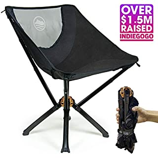 Cliq Camping Chair - Bottle Sized Compact Outdoor Chair Sets up in 5 Seconds Supports 300 LBS Aircraft Grade Aluminum
