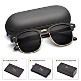 Mens Clubmaster Sunglasses Polarized Womens UV 400 Protection 51MM,by LUENX with Case