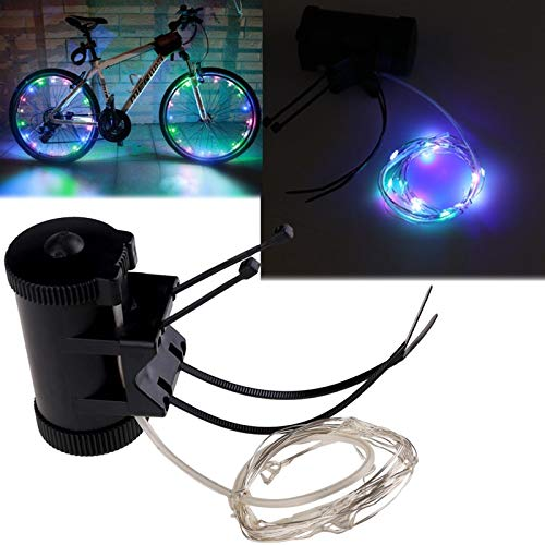 ni Colorful Bike Light 20 LED Bicycle Wheel Tire Spoke Steel Wire rim Cycling Accessories New Bicicleta ()