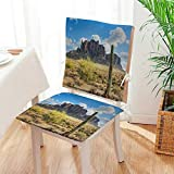 Mikihome Chair Pads 2 Piece Set Decor Famous Canyon Cliff with Dramatic Cloudy Sky Southwest Terrain Place Nature Brown Garden Home Kitchen Mat:W17 x H17/Backrest:W17 x H36