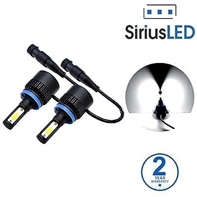 SiriusLED Extremely Bright COB LED Chip 8000 Lumens Headlights Fog Lights Bulb Conversion Kit H11 H8 6000K Xenon White (2017 Version)
