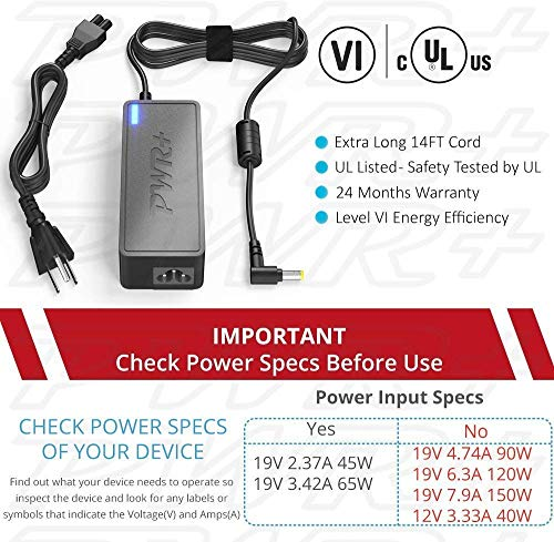 Pwr+ UL Listed 19V 65W for HP-Pavilion-MONITOR 20 21 5 23 23 8